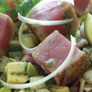 Avocado and Seared Tuna Steak Salad.