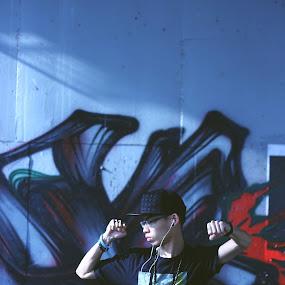 Dancer by Jessie Lyee - People Musicians & Entertainers ( wallart, mural, boy, dance, streetart )
