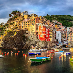 Riomaggiore by Zoltan Duray - Landscapes Waterscapes ( cinque terre, color house, riomaggiore, sea, architecture, house, boat, dusk, sun, sky, pwc 111, village, color, summer, italy, water, device, transportation,  )