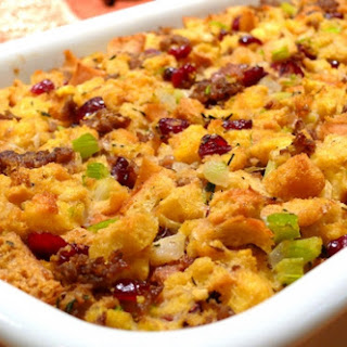 Bread and Sausage Stuffing with Cranberries.