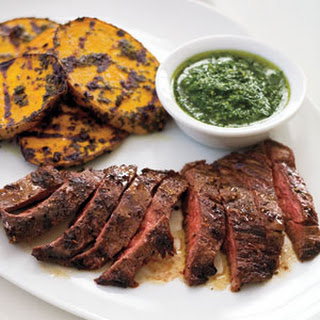 Grilled Skirt Steak and Potatoes with Herb Sauce.