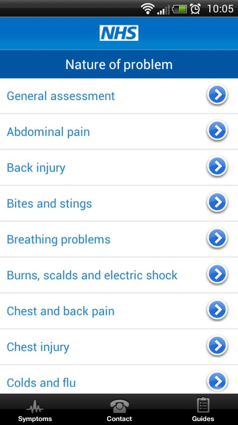 NHS Health and Symptom checker - screenshot