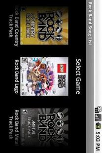 Rock Band Song List- screenshot thumbnail