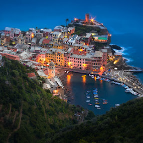 Vernazza, Cinque Terre by Tomas Vocelka - City,  Street & Park  Night ( lights, cinque terre, national park, blue hour, vernazza, night, view, quiet, italy,  )
