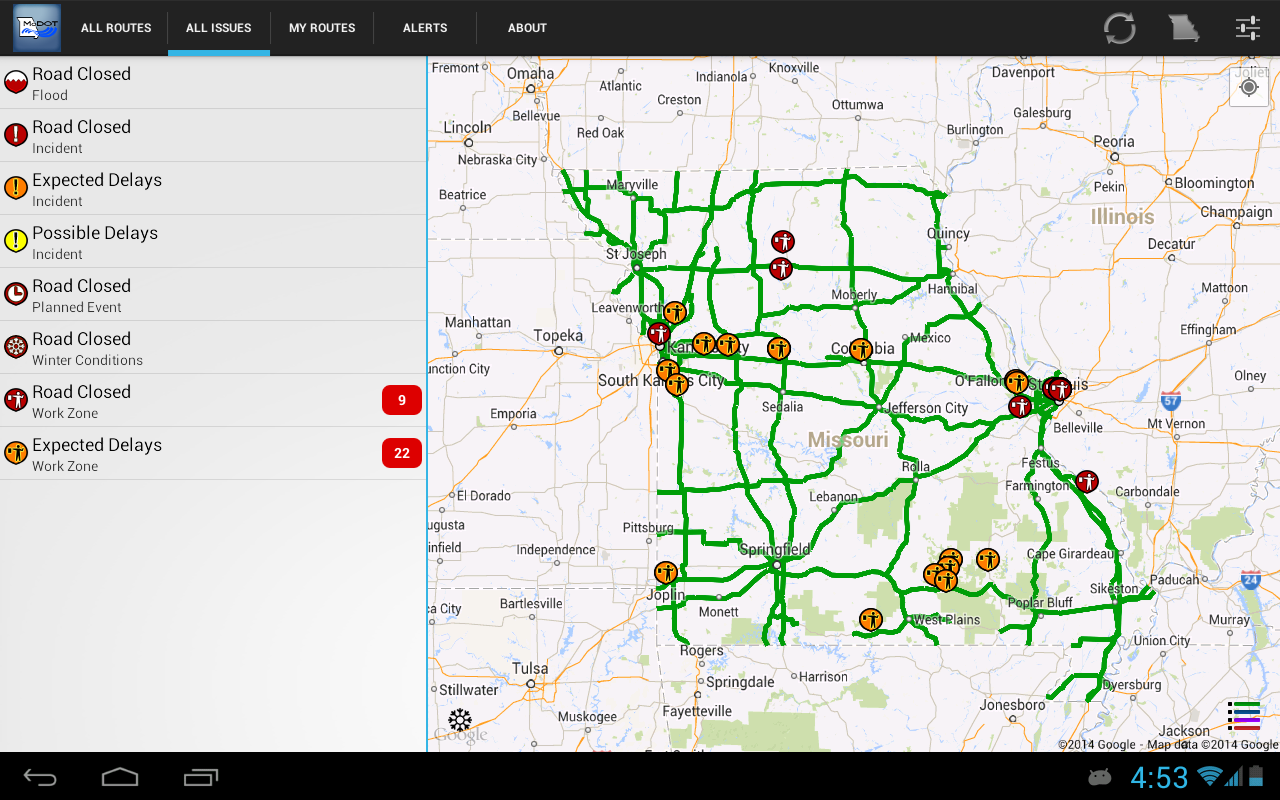 MoDOT Traveler Information - screenshot