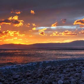Windy Sunset by Dalibor Jud - Landscapes Sunsets & Sunrises ( vjetroviti, adriatic, windy, croatia, sea, hrvatska, sun, island, more, učka, sunset, suton, otok, jadransko, zalazak, sunce, omišalj, sunca, krk, relax, tranquil, relaxing, tranquility,  )