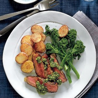 Steak With Crisp Potatoes and Pistachio Pesto.
