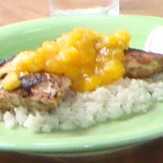 Grilled Spiced Chicken With Caribbean Citrus-Mango Sauce.