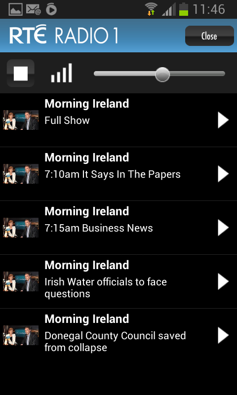 RTÉ Radio Player- screenshot
