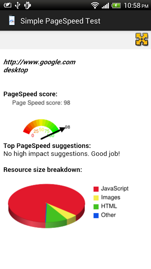 SimplePageSpeed- screenshot