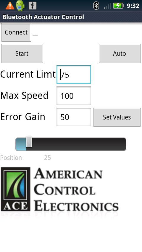 ACE Actuator Control - screenshot