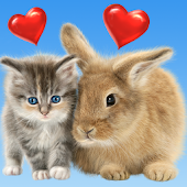 Cat and Bunny. Cute Wallpaper.