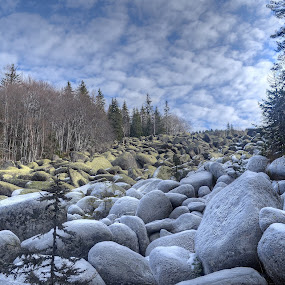 Stoneriver by Stani Georgiev - Landscapes Mountains & Hills ( clouds, mountain, forest, rocks, stoneriver )