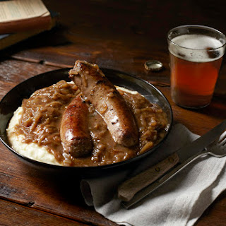 "Bangers and Mash with Onion ""gravy"""