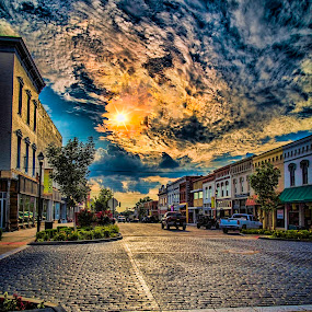 Cobblestone Afternoon by Michael Buffington - City,  Street & Park  Historic Districts ( clouds, afternoon, street, historic district, rogers, sun, cobblestone, arkansas,  )