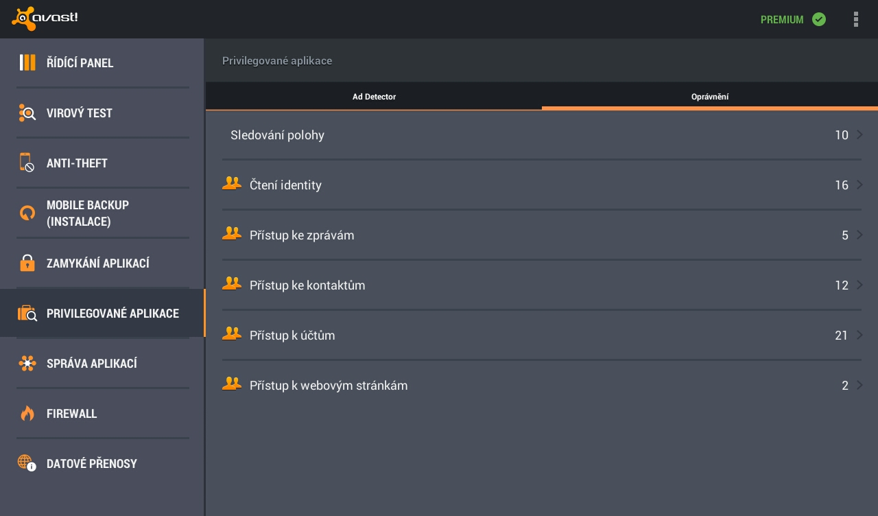 Antivir a ochrana mobilu – snímek obrazovky
