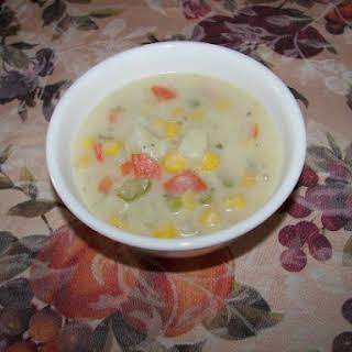 Creamy Corn And Potato Soup.