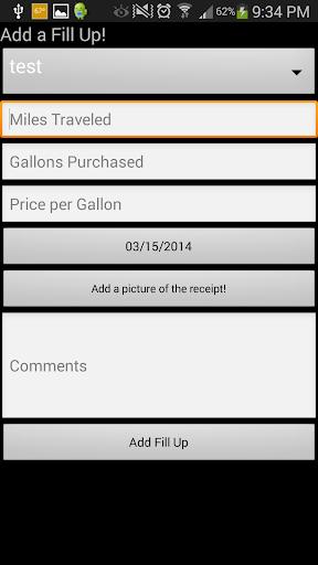 Gas Mileage Journal
