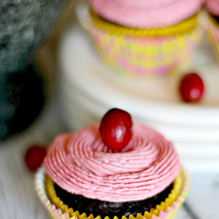 Gluten Free Double Chocolate Cupcakes with Cranberry Frosting