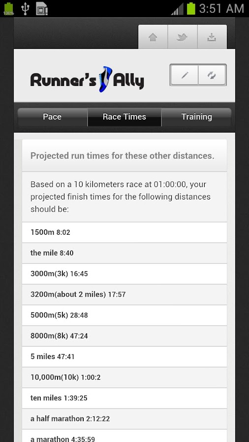 RUNNING PACE CALCULATOR - screenshot