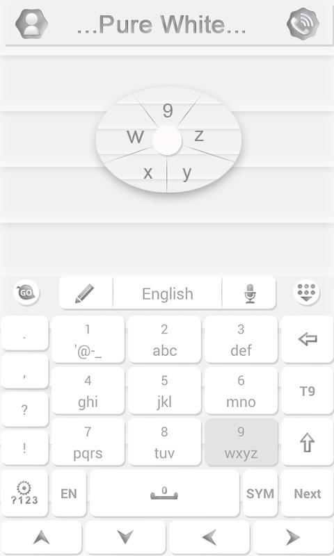 Pure White GO Keyboard Theme - screenshot