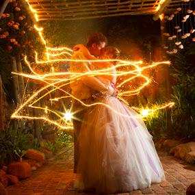 Magical by Béanca Van Heerden - Wedding Bride & Groom ( lights, light painting, night photography, bide, groom )