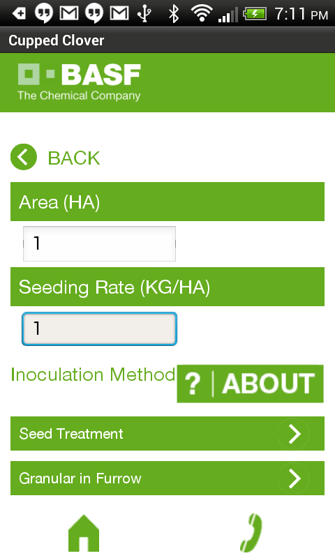 Inoculant Calculator - screenshot
