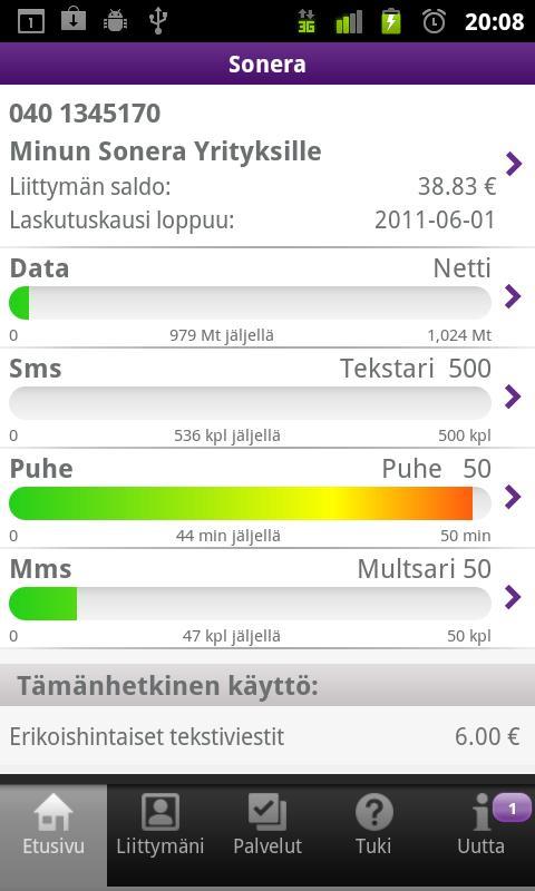 Minun Sonera - screenshot