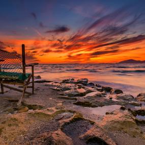 Empty chair.. by George Papapostolou - Landscapes Sunsets & Sunrises ( kos, george papapostolou, colors, sunset, aegean sea, greece, nikon, landscape,  )