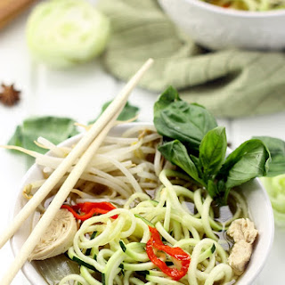 Healthy Chicken Pho with Zucchini Noodles.