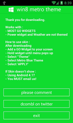 GOWidget - Win8 Green Theme