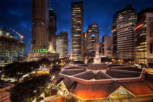 The roof of Telok Ayer Market, known locally as Lau Pa Sat, a historic building in Singapore's central business district.