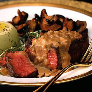 Beef Tenderloin Steaks with Mustard-Cognac Sauce.