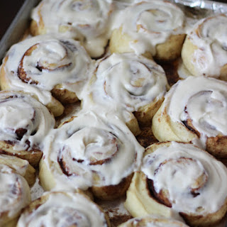Overnight Buttermilk Cinnamon Rolls with Cream Cheese Frosting.