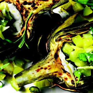 Grilled Artichokes with Anchovy Mayo and Cucumber-Lemon Salsa