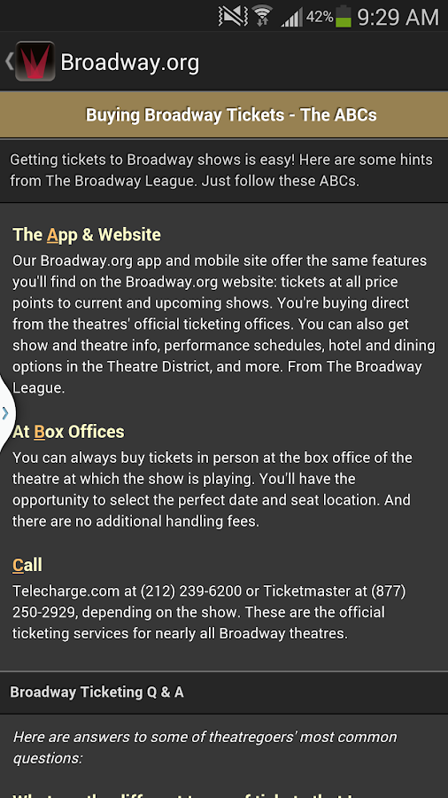 Broadway.org- screenshot