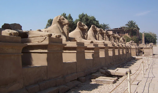 Karnak-Temple-at-Luxor-Egypt-ram-statues - Ram statues at Karnak Temple complex at Luxor, Egypt. See it as part of a cultural experience aboard Uniworld's River Tosca or Princess Cruises' Pacific Princess.