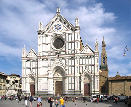 Santa-Croce-exterior-Florence - The Basilica di Santa Croce is the principal Franciscan church in Florence, Italy, and a minor basilica of the Roman Catholic Church. It's on the Piazza di Santa Croce, about a half mile southeast of the Duomo.
