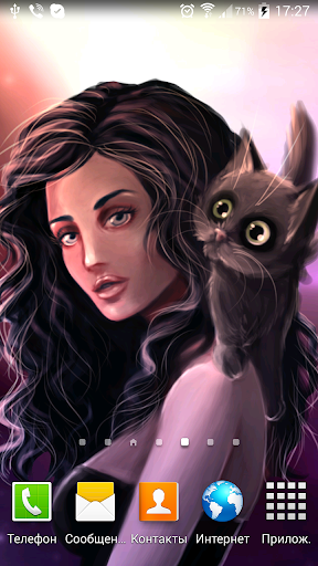 Girl with cat Live Wallpaper