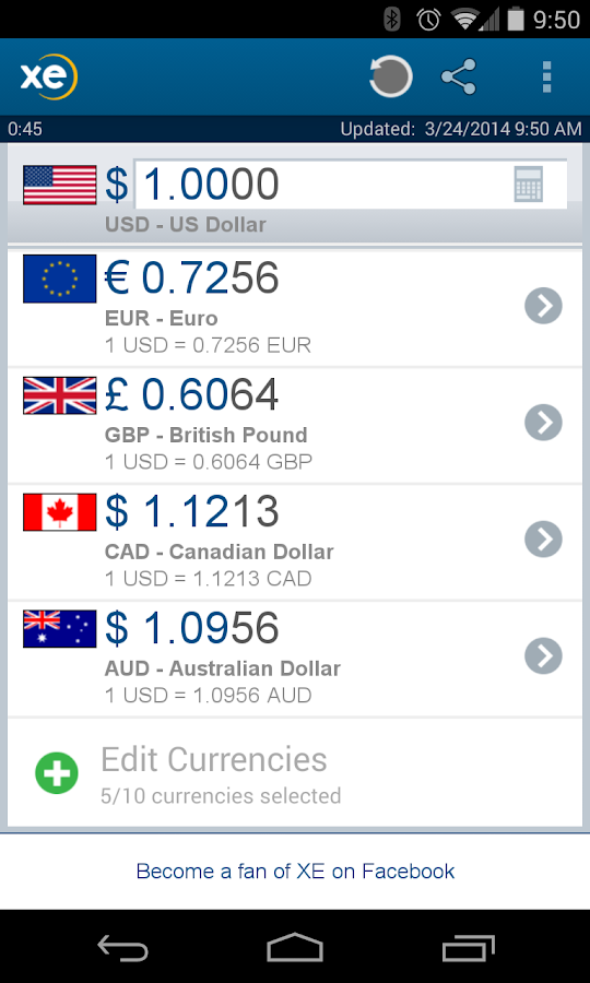 XE Currency - screenshot