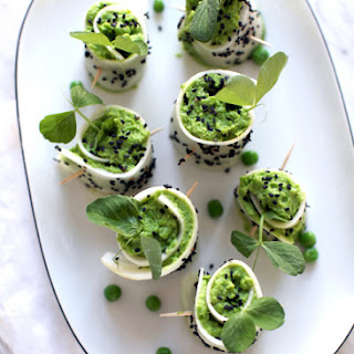 Daikon Rolls-ups with Miso Mint Pea Filling