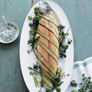 Poached Salmon with Cucumber, Cress, and Caper Sauce.