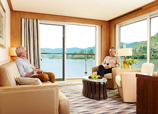 Viking-Longship-Stateroom-ES0 - Spend  quality time with your partner in the private lounge  of your stateroom during your Viking River cruise through Europe's waterways.
