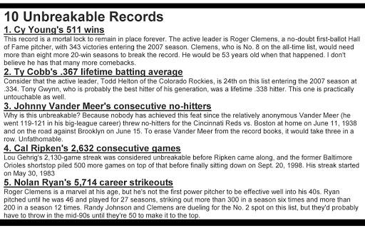 Baseball Lists