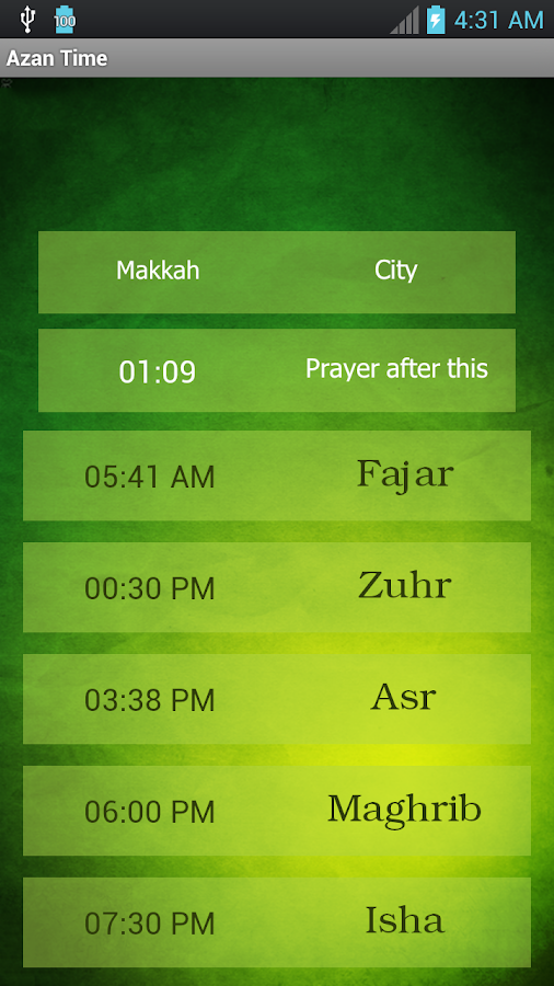 Azan Time for All Prayers- screenshot