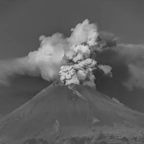 Smoking Volcano and Church by Cristobal Garciaferro Rubio - Black & White Landscapes ( smokng volcano, volcano, popo, mexico, popocatepetl )