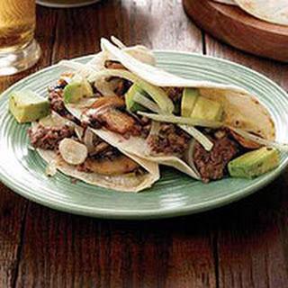 Beef-and-Mushroom Tacos with Avocado Salad.