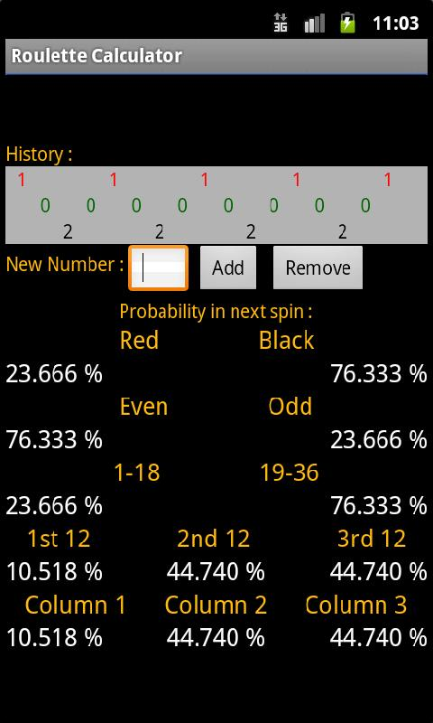 Roulette Calculator - screenshot