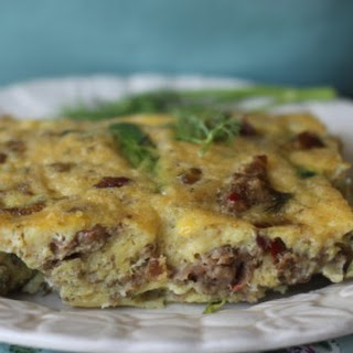 Sausage, Leek and Asparagus Dill Breakfast Casserole.