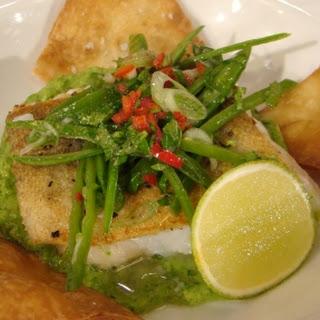 Pan-fried Cod With Pea Guacamole.